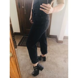Grungy black denim high waisted mom jeans!
